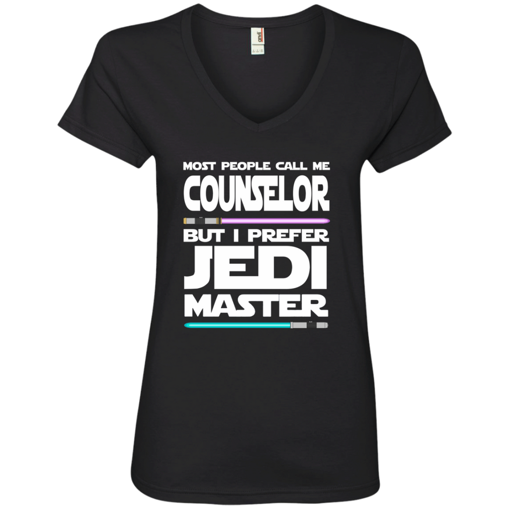 Most People Call Me Counselor But I Prefer Jedi Master Ladies' V-Neck Tee - TeachersLoungeShop - 1