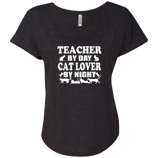 Teacher by Day Cat Lover by Night Next Level Ladies Triblend Dolman Sleeve - TeachersLoungeShop - 4