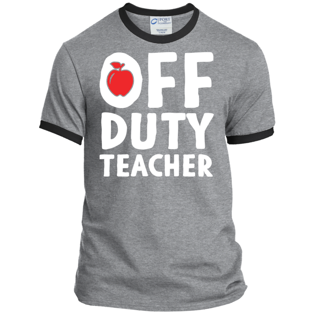 Off Duty Teacher Ringer Tee - TeachersLoungeShop - 1