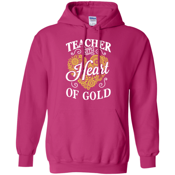 Teacher with Heart of Gold  Hoodie 8 oz - TeachersLoungeShop - 6