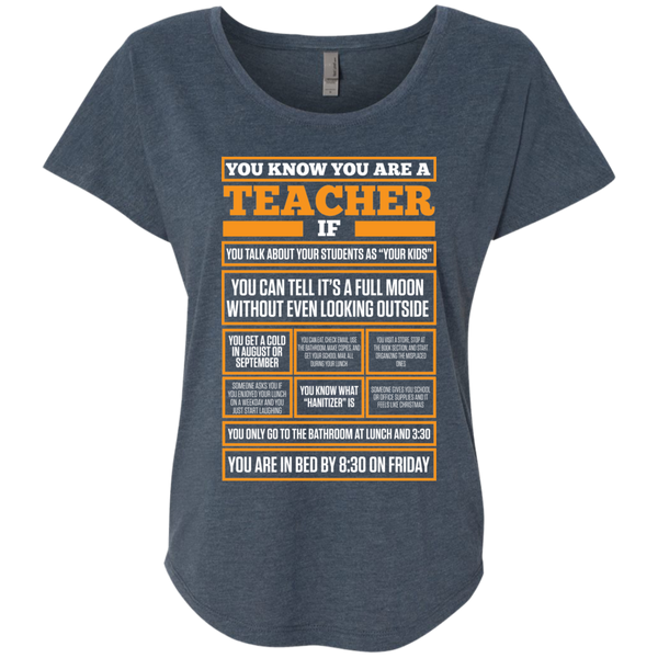 You know You are a Teacher if    Level Ladies Triblend Dolman Sleeve - TeachersLoungeShop - 1