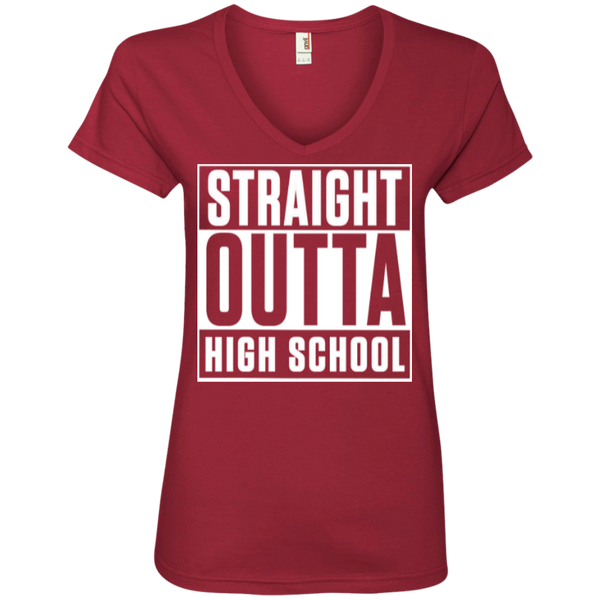 Straight Outta High School  Ladies  V-Neck Tee - TeachersLoungeShop - 3