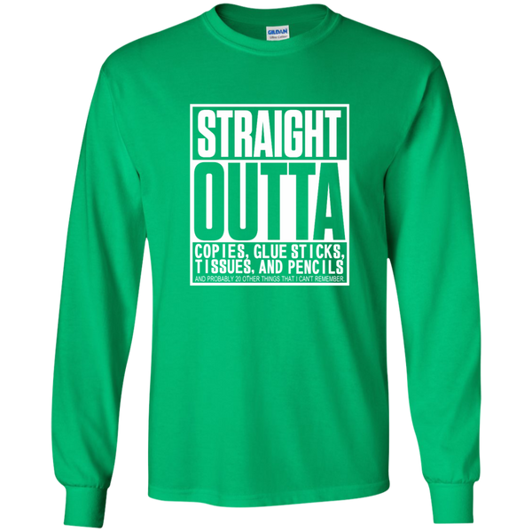 Straight Outta Copies Glue Sticks Tissues and Pencils LS Ultra Cotton Tshirt - TeachersLoungeShop - 4
