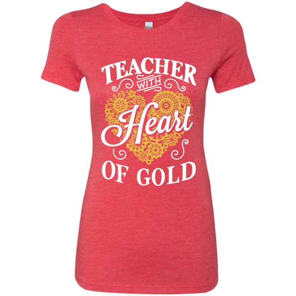Teacher with Heart of Gold  Level Ladies Triblend T-Shirt - TeachersLoungeShop - 5