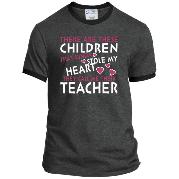 There are these Children that Kinda Stole My Heart They call Me Their Teacher Ringer Tee - TeachersLoungeShop - 3