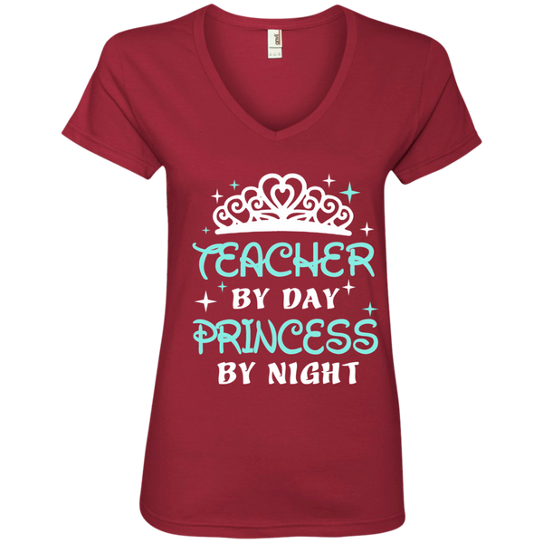 Teacher By Day Princess By Night ver2 Ladies' V-Neck Tee - TeachersLoungeShop - 3