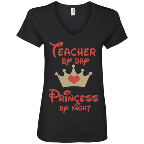 Teacher by Day Princess by Night Ladies' V-Neck Tee - TeachersLoungeShop - 1