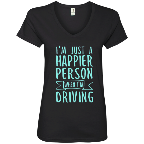 I'm Just a Happier Person When I'm Driving Ladies' V-Neck Tee - TeachersLoungeShop - 1