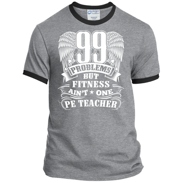 99 Problems But Fitness Ain't One PE Teacher Ringer Tee - TeachersLoungeShop - 2