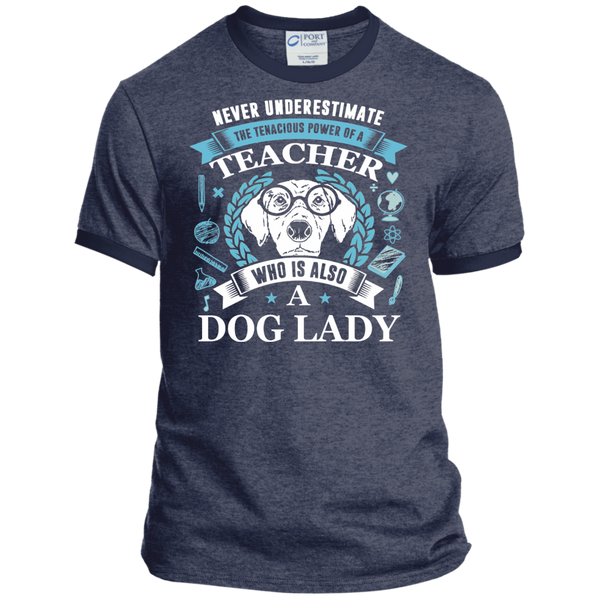Never Underestimate the Tenacious Power of a Teacher who is also a Dog Lady Ringer Tee - TeachersLoungeShop - 4