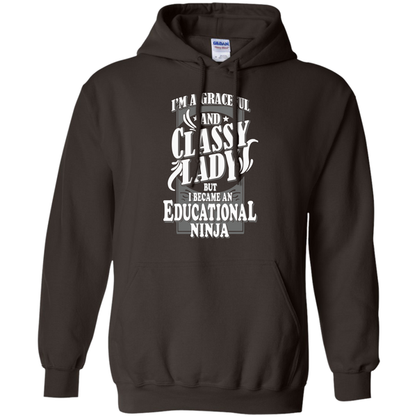 I'm a Graceful and Classy Lady but I became an Educational Ninja Pullover Hoodie 8 oz - TeachersLoungeShop - 5