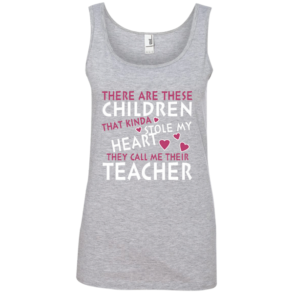 There are these Children that Kinda Stole My Heart They call Me Their Teacher Ladies' 100% Ringspun Cotton Tank Top - TeachersLoungeShop - 2