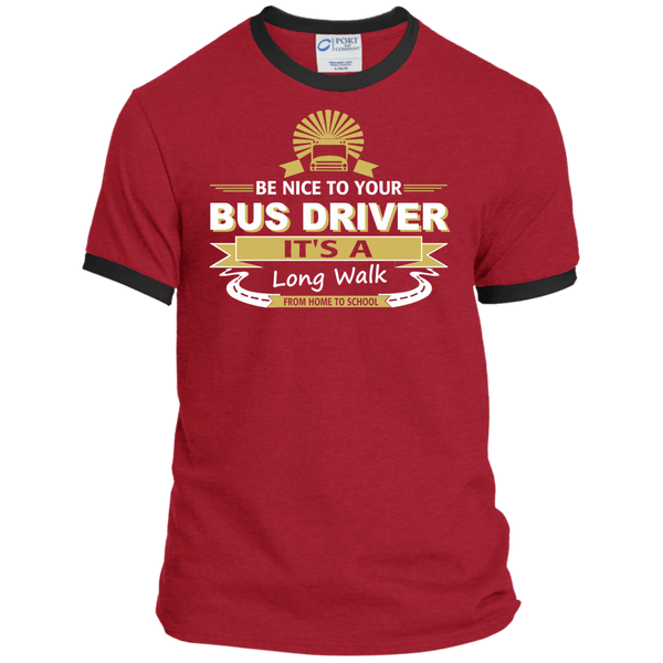 Be Nice to Your Bus Driver It's a Long Walk From Home to School Ringer Tee - TeachersLoungeShop - 6