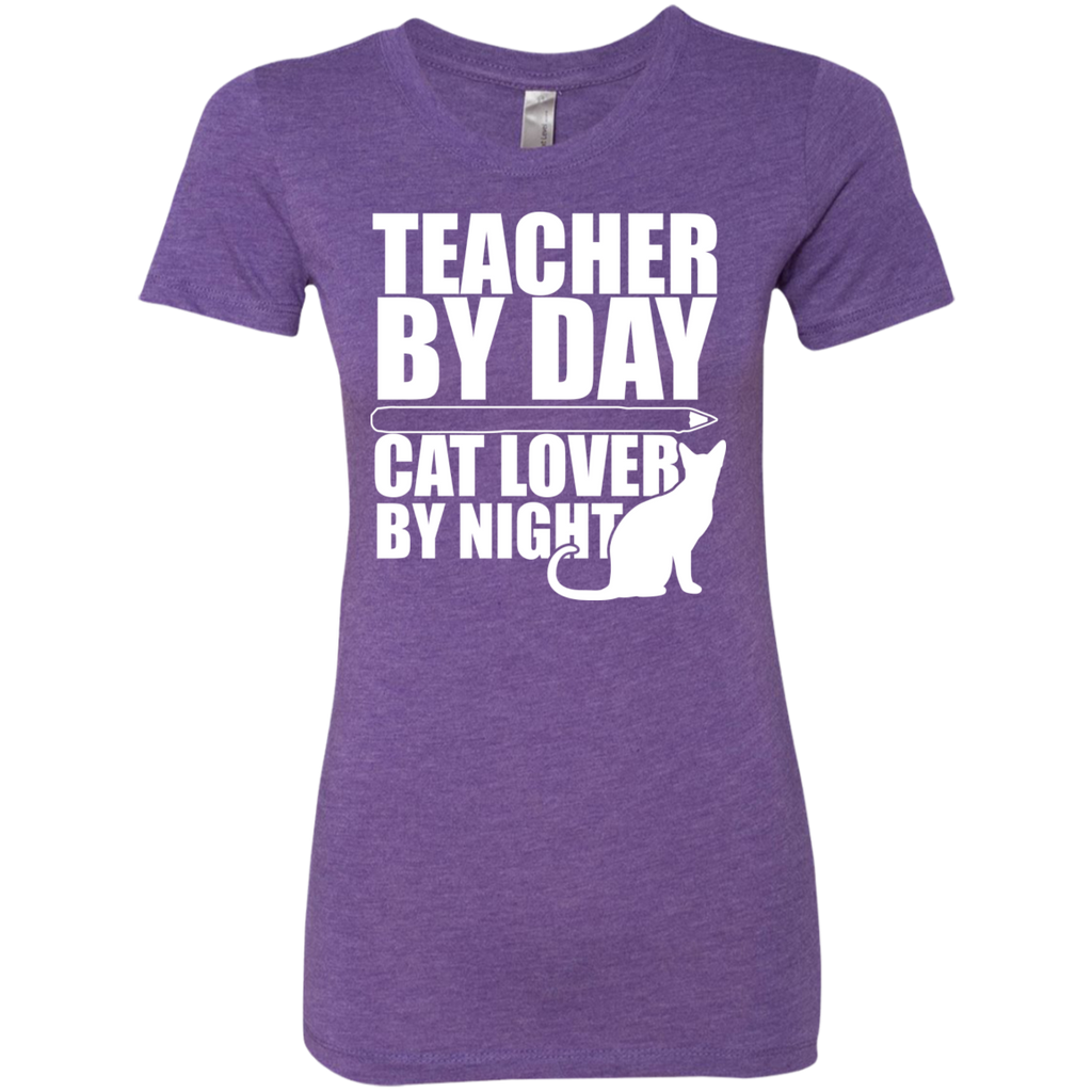 Teacher by Day Cat Lover by Night Next  Level Ladies Triblend T-Shirt - TeachersLoungeShop - 1