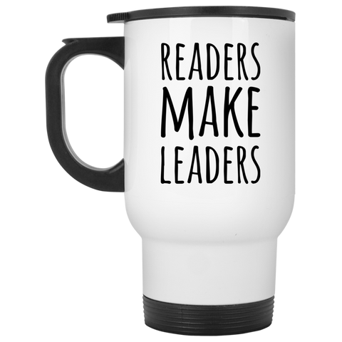 Readers make Leaders  White Travel Mug