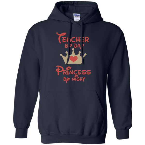 Teacher by Day Princess by Night Pullover Hoodie 8 oz - TeachersLoungeShop - 2