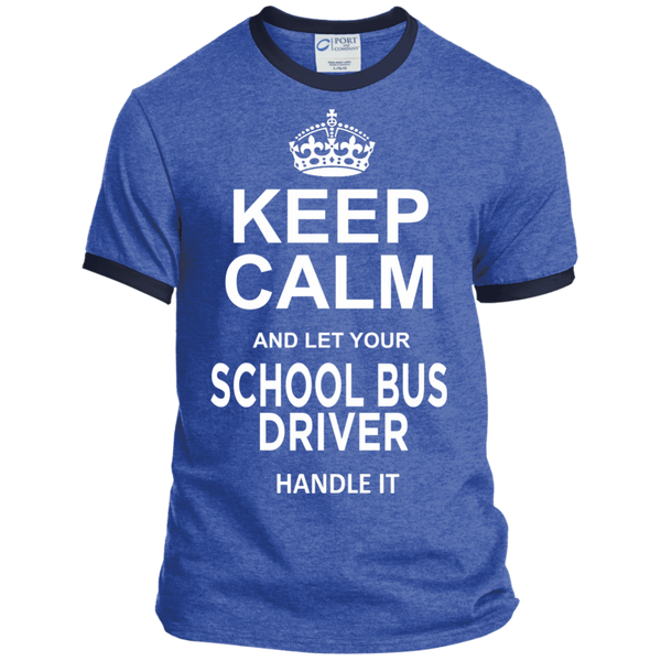 Keep Calm and let your School Bus Driver handle it Ringer Tee - TeachersLoungeShop - 6