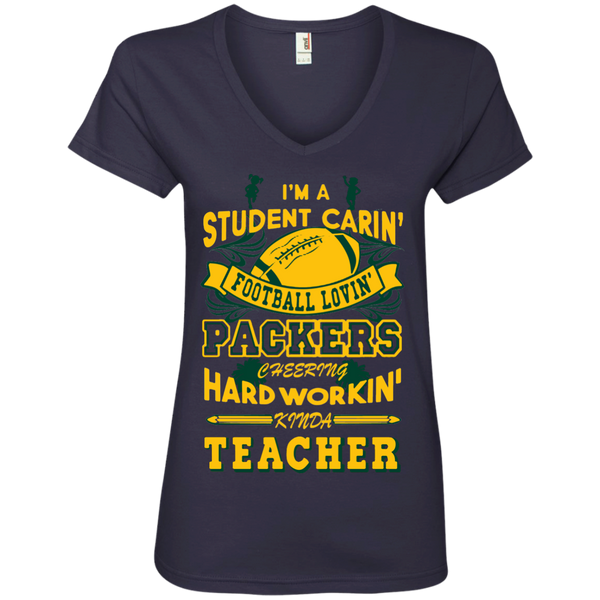 Student Caring Loving Cheering Packers Teacher   V-Neck Tee - TeachersLoungeShop - 3