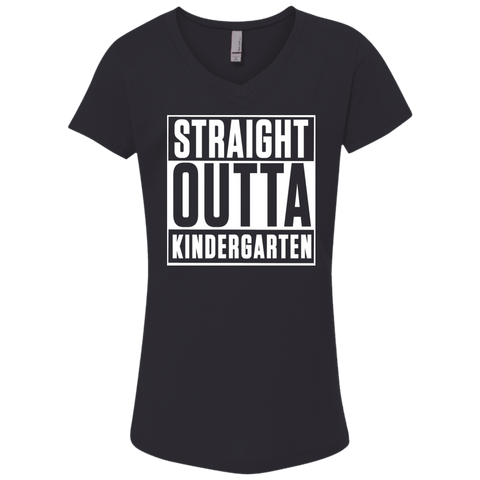 Straight outta Kindergarten  Next Level Girl's Princess V-Neck T-Shirt