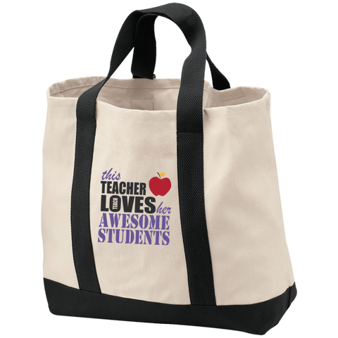 This Teacher Loves her awesome Students  2-Tone Shopping Tote