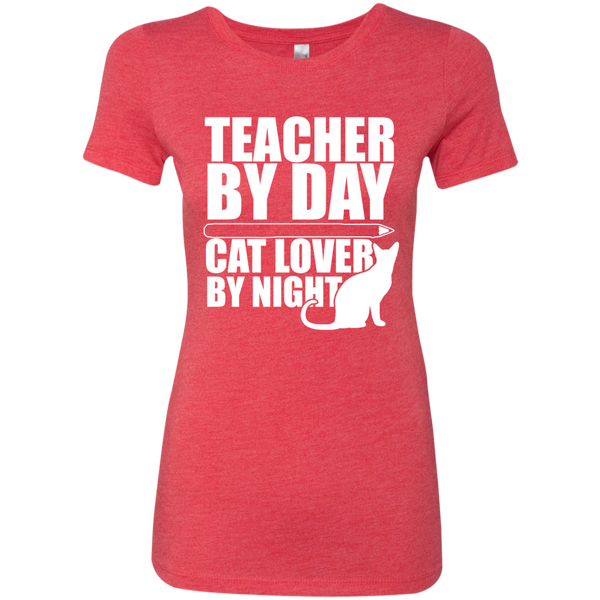 Teacher by Day Cat Lover by Night Next  Level Ladies Triblend T-Shirt - TeachersLoungeShop - 6