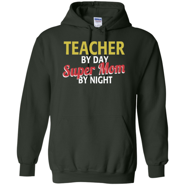 Teacher by Day Super Mom By Night  Hoodie 8 oz - TeachersLoungeShop - 5