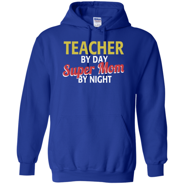 Teacher by Day Super Mom By Night  Hoodie 8 oz - TeachersLoungeShop - 7
