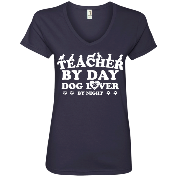 Teacher By Day Dog Lover  Ladies' V-Neck Tee - TeachersLoungeShop - 4