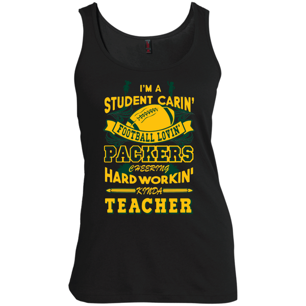Student Caring Loving Cheering Packers Teacher  Scoop Neck Tank Top - TeachersLoungeShop - 1