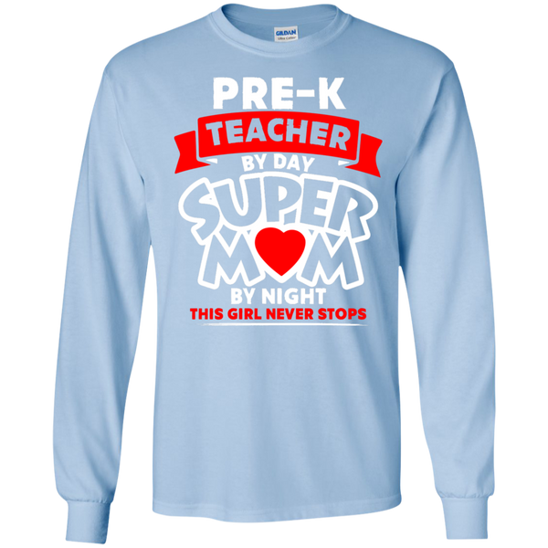 Pre-k  Teacher by Day Super Mom By Night  Ultra Cotton Tshirt - TeachersLoungeShop - 5