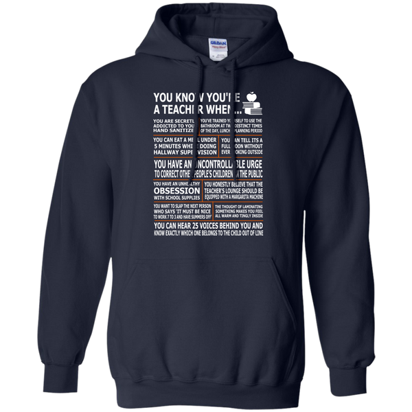 You Know You're a Teacher When Pullover Hoodie 8 oz - TeachersLoungeShop - 2