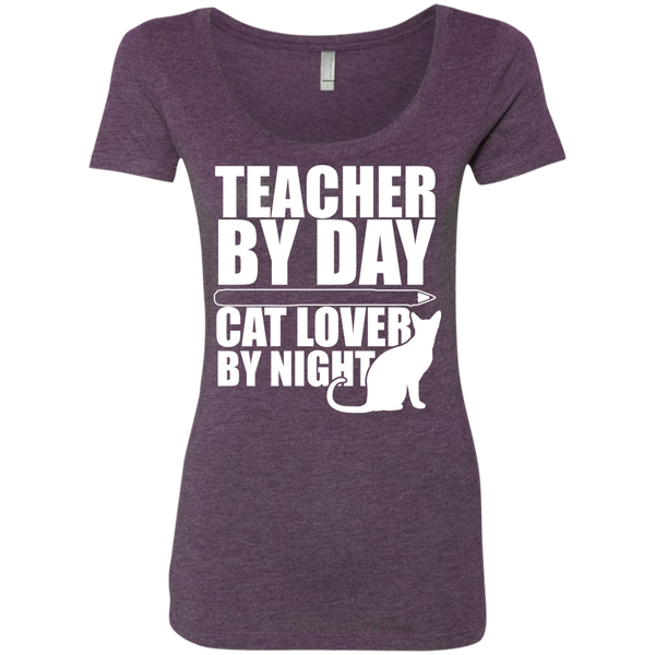 Teacher by Day Cat Lover by Night  Level Ladies Triblend Scoop - TeachersLoungeShop - 3