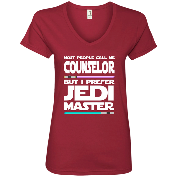 Most People Call Me Counselor But I Prefer Jedi Master Ladies' V-Neck Tee - TeachersLoungeShop - 3