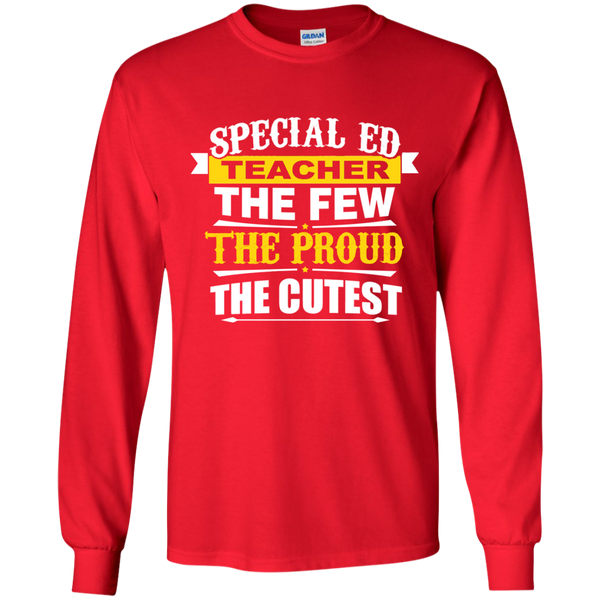 Special Ed Teacher The Few The Proud The Cutest LS Ultra Cotton Tshirt - TeachersLoungeShop - 8