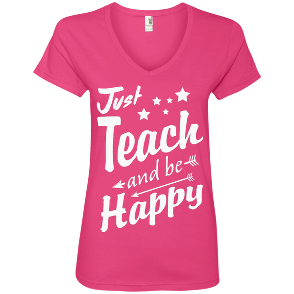 Just Teach and Be Happy  V-Neck Tee - TeachersLoungeShop - 2