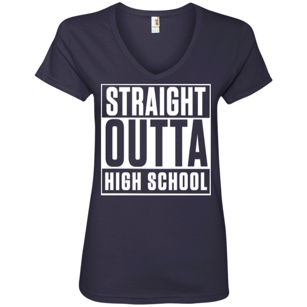 Straight Outta High School  Ladies  V-Neck Tee - TeachersLoungeShop - 4