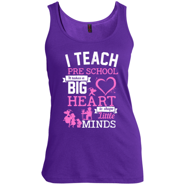 I Teach Preschool It Takes a Big Heart to Shape Little Minds  Scoop Neck Tank Top - TeachersLoungeShop - 3