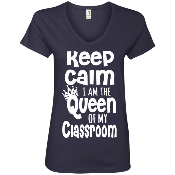 Keep Calm I am the Queen of My Classroom Ladies' V-Neck Tee - TeachersLoungeShop - 4