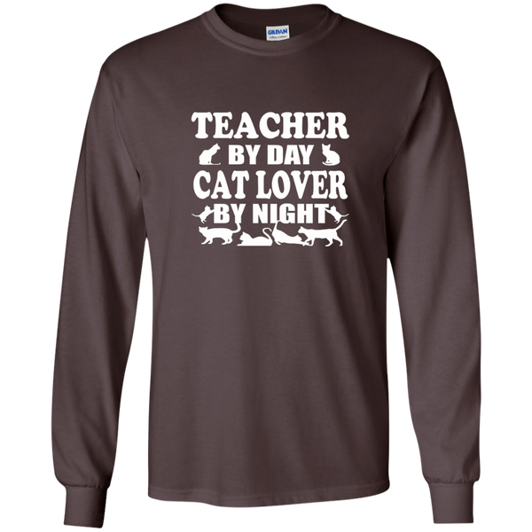 Teacher by Day Cat Lover by Night LS Ultra Cotton Tshirt - TeachersLoungeShop - 3