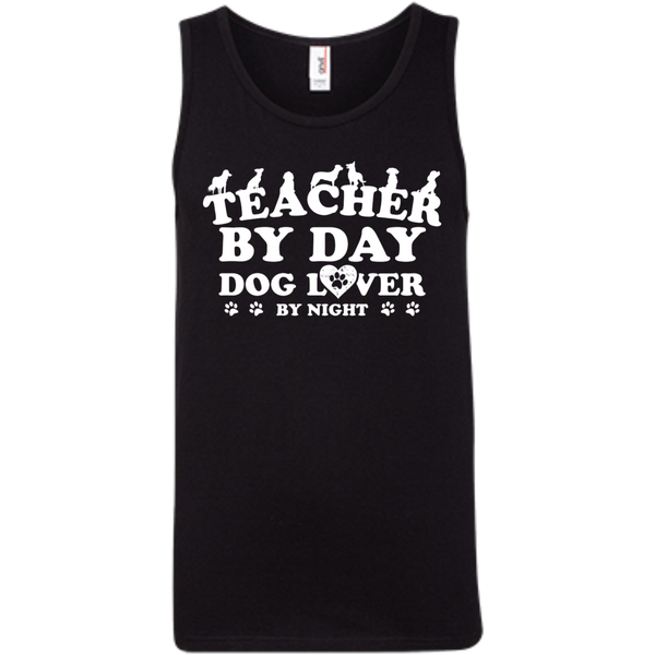 Teacher By Day Dog Lover 100% Ringspun Cotton Tank Top - TeachersLoungeShop - 2