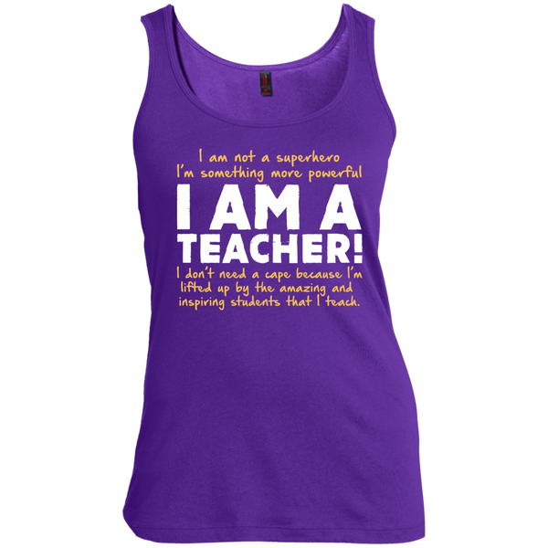 I am not a superhero I'm something more powerful I am a Teacher Scoop Neck Tank Top - TeachersLoungeShop - 4