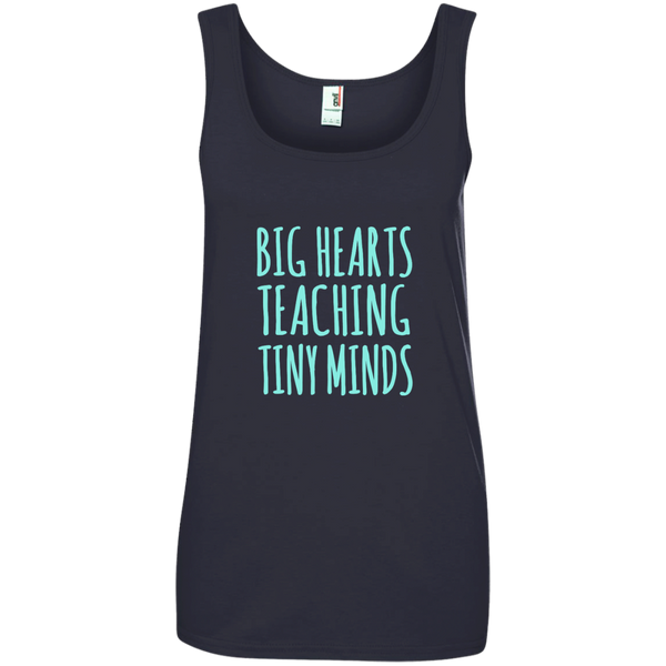 Big Hearts Teaching Tiny Minds Ladies' 100% Ringspun Cotton Tank Top - TeachersLoungeShop - 4