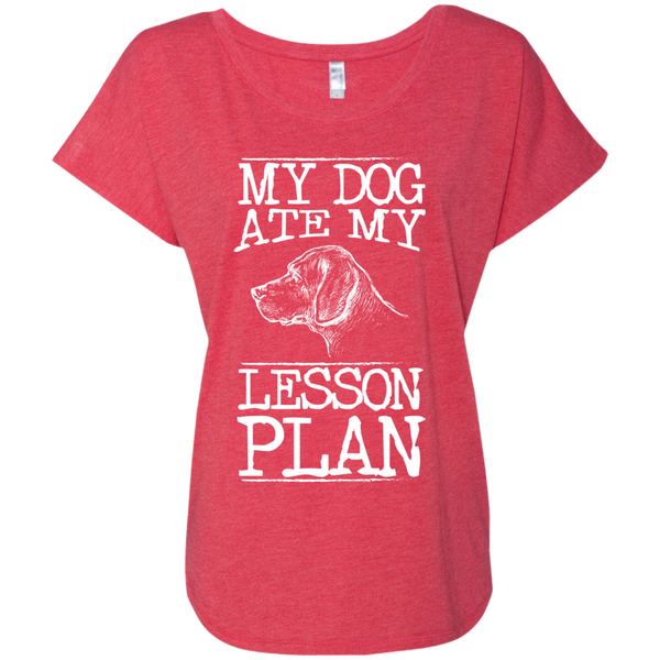 My Dog Ate my Lesson Plan  Next Level Ladies Triblend Dolman Sleeve - TeachersLoungeShop - 7