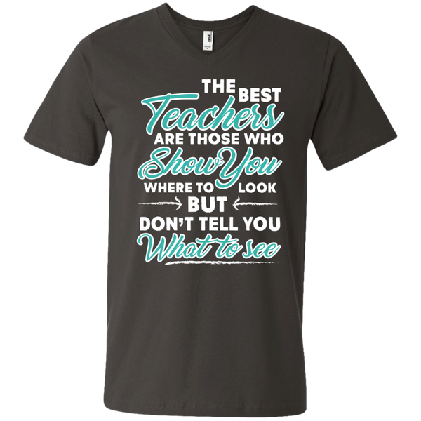The Best Teachers are those who show you Men's  Printed V-Neck T - TeachersLoungeShop - 3