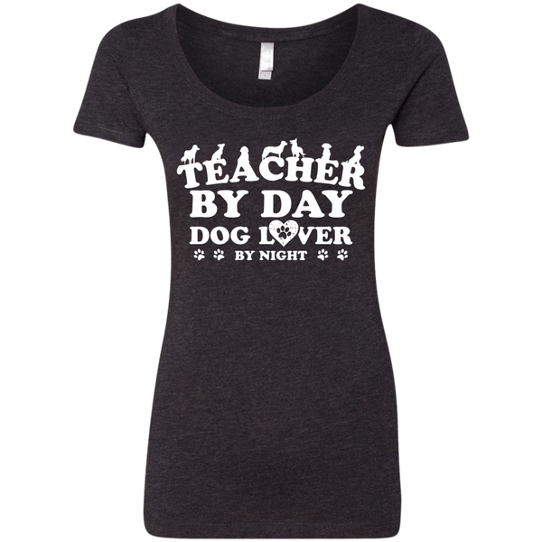 Teacher By Day Dog Lover Next Level Ladies Triblend Scoop - TeachersLoungeShop - 3