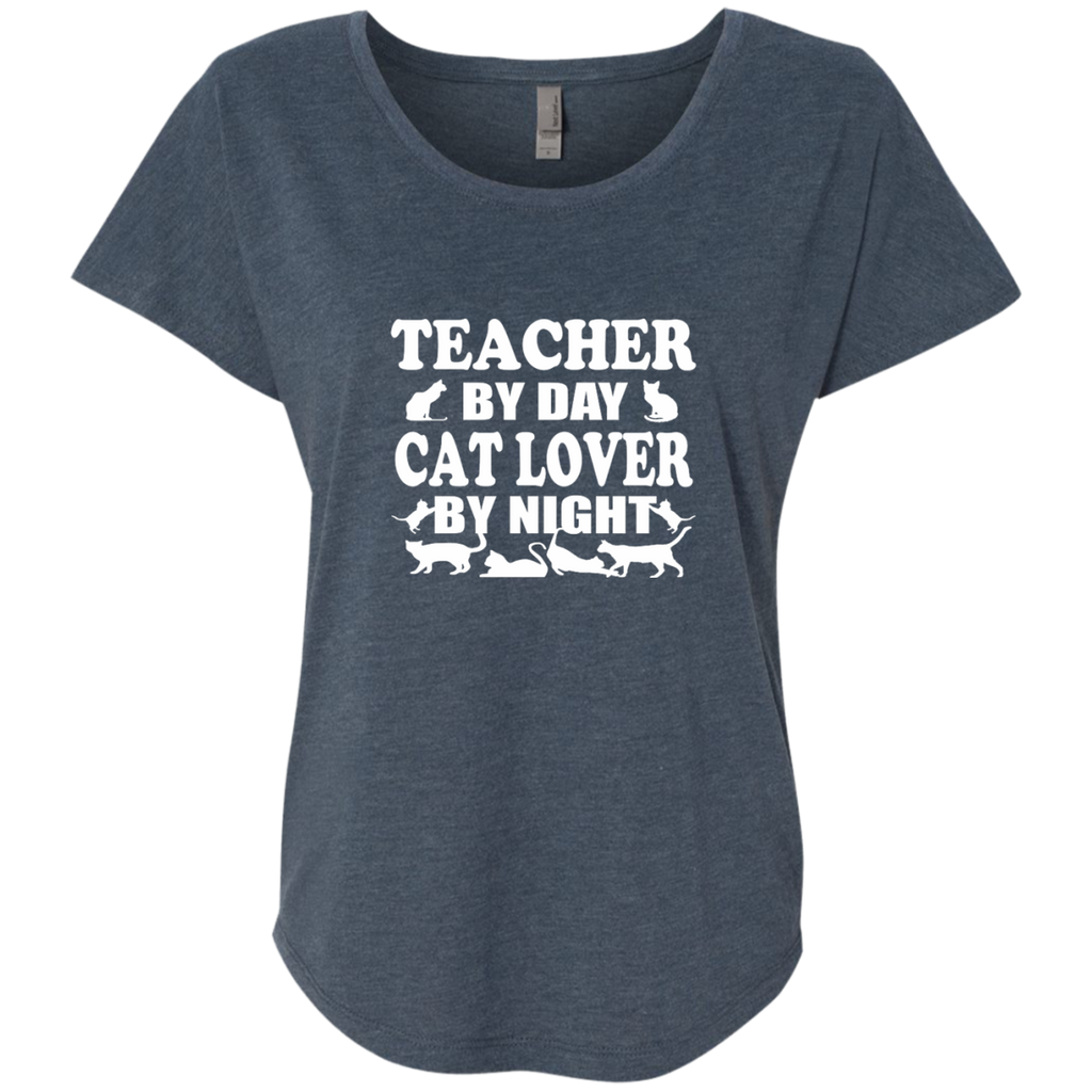 Teacher by Day Cat Lover by Night Next Level Ladies Triblend Dolman Sleeve - TeachersLoungeShop - 1