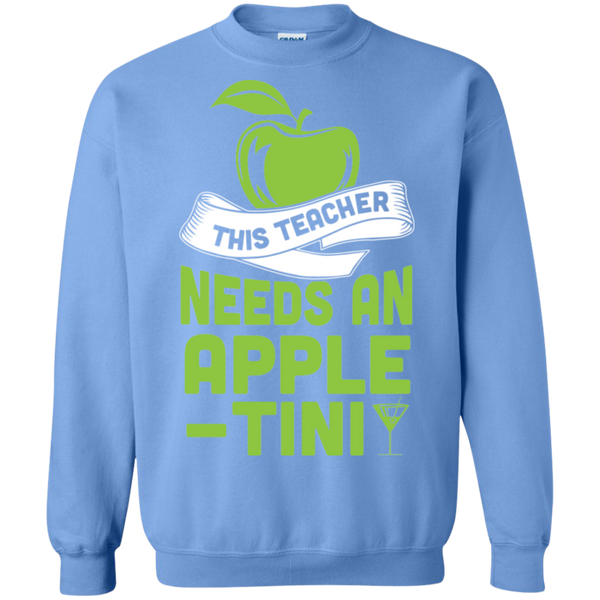 THIS TEACHER NEEDS AN APPLE-TINI Crewneck Pullover Sweatshirt  8 oz - TeachersLoungeShop - 9