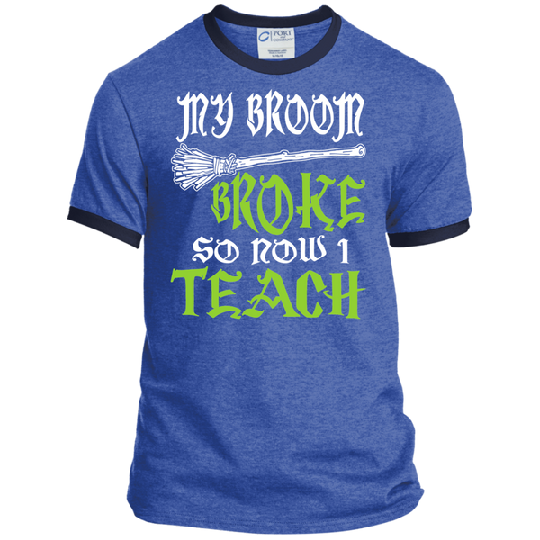 My Broom Broke So Now I'm a Teacher Ringer Tee - TeachersLoungeShop - 5