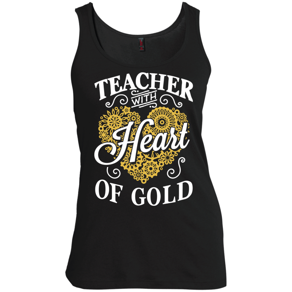 Teacher with Heart of Gold  Scoop Neck Tank Top - TeachersLoungeShop - 1