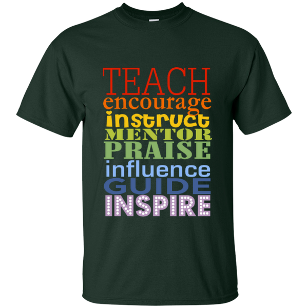 Teach Encourage Instruct Mentor Praise Influence Guide Inspire Cotton T-Shirt - TeachersLoungeShop - 10
